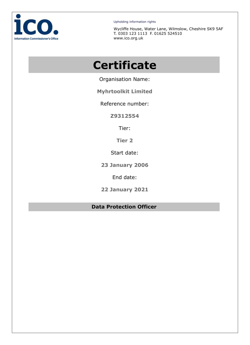 ICO Registration Certificate