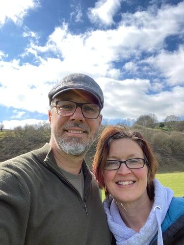 Myhrtoolkit founder, Jon Curtis and his wife Amanda on a walk around Longshaw Estate, Derbyshire