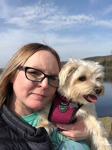 Accounts Manager, Lindsay Dale on a walk with her dog Lilly on the Underbank Reservoir, Stocksbridge