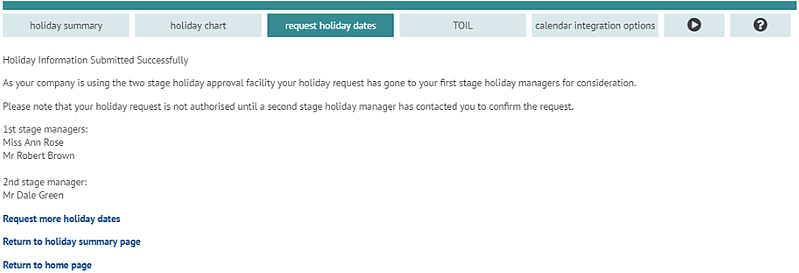 User notified of two stage holiday approval