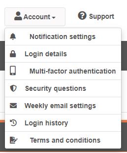 Multi-factor authentication option on the myhrtoolkit account menu