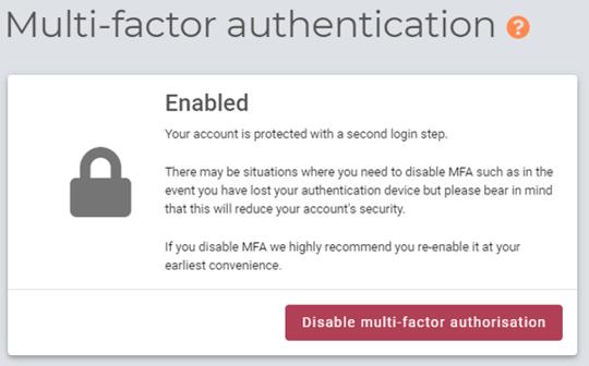 Multi-factor authentication status on myhrtoolkit