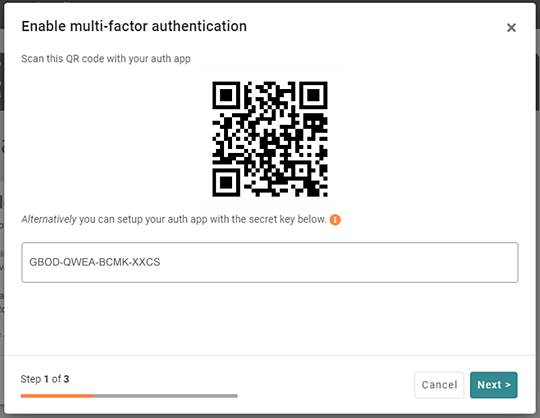 Scan the QR code on your authenticator app
