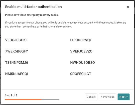 Securely store your recovery codes MFA