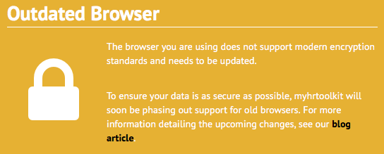 myhrtoolkit outdated browser message for data security