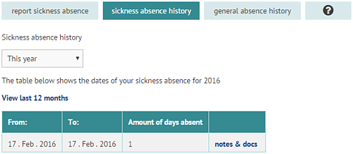 Sickness absence history