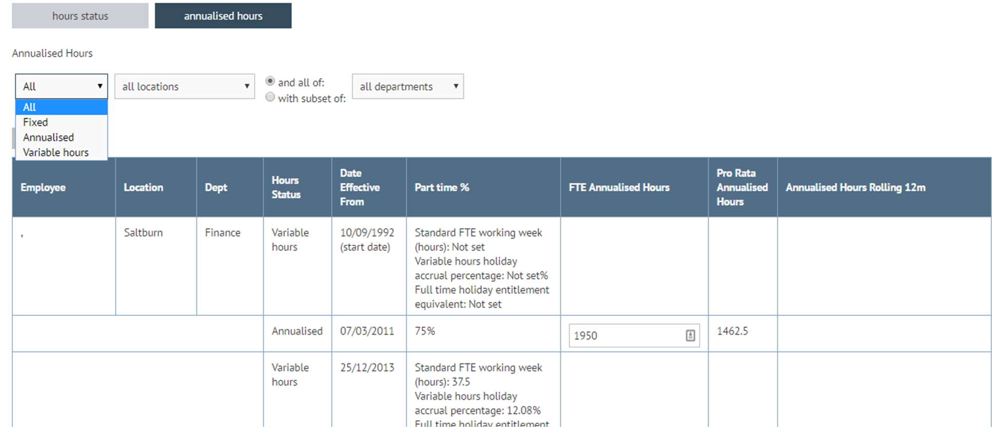 Filter the annualised hours tab