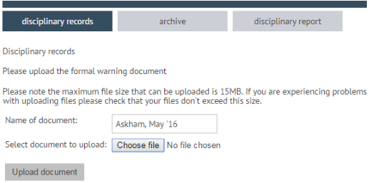 Add a formal warning document to the system