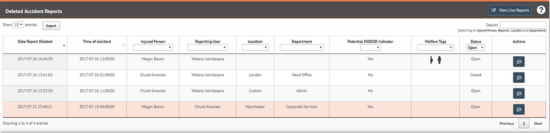Deleting health and safety reports on myhrtoolkit