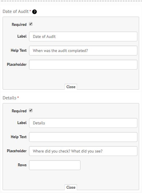 Custom form builder: changing settings