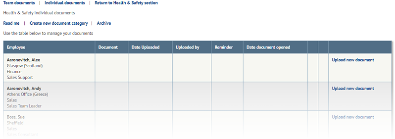 Health and safety software individual documents