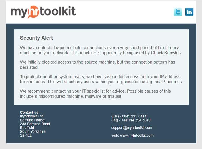 User IP blocked email notification
