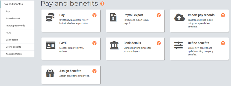 Pay and Benefits Managers Home page