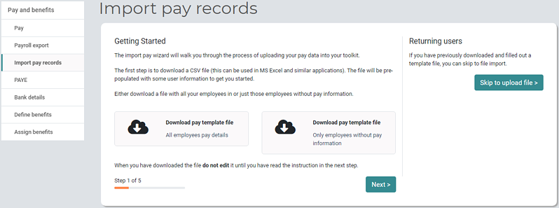 Pay and Benefits Managers import pay records