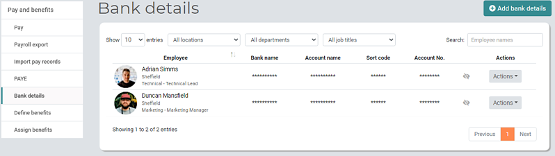 Pay and Benefits Managers Bank details