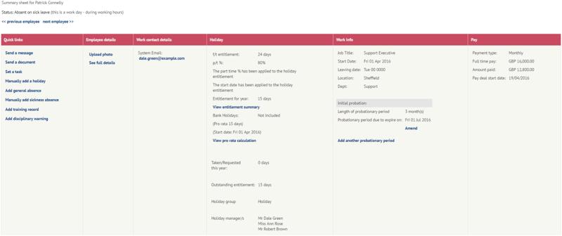 Probation information on employee file