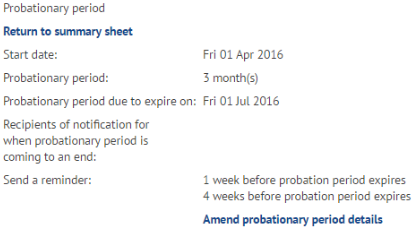 Probation period summary