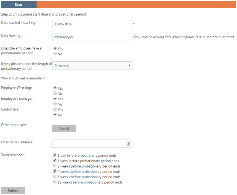 Probation period settings in new employee wizard myhrtoolkit