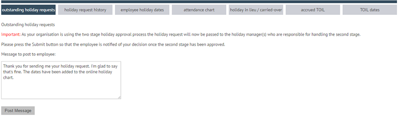 First stage holiday approval
