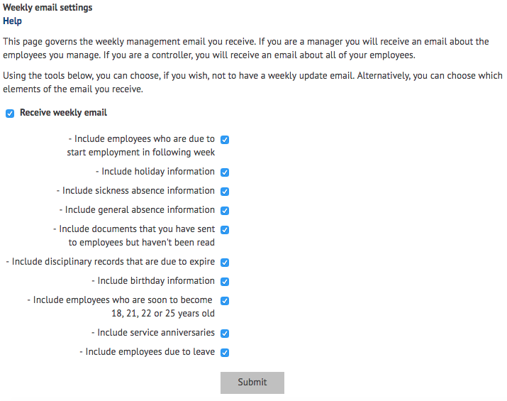 Weekly email settings in myhrtoolkit HR software