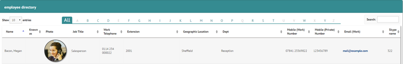Employee directory entry example