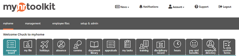 myhrtoolkit HR software menu