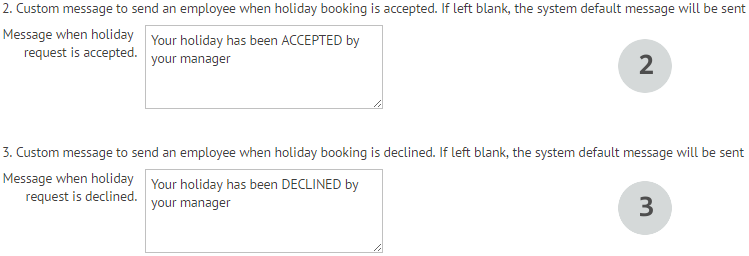Custom messages for holiday request approvals and denials