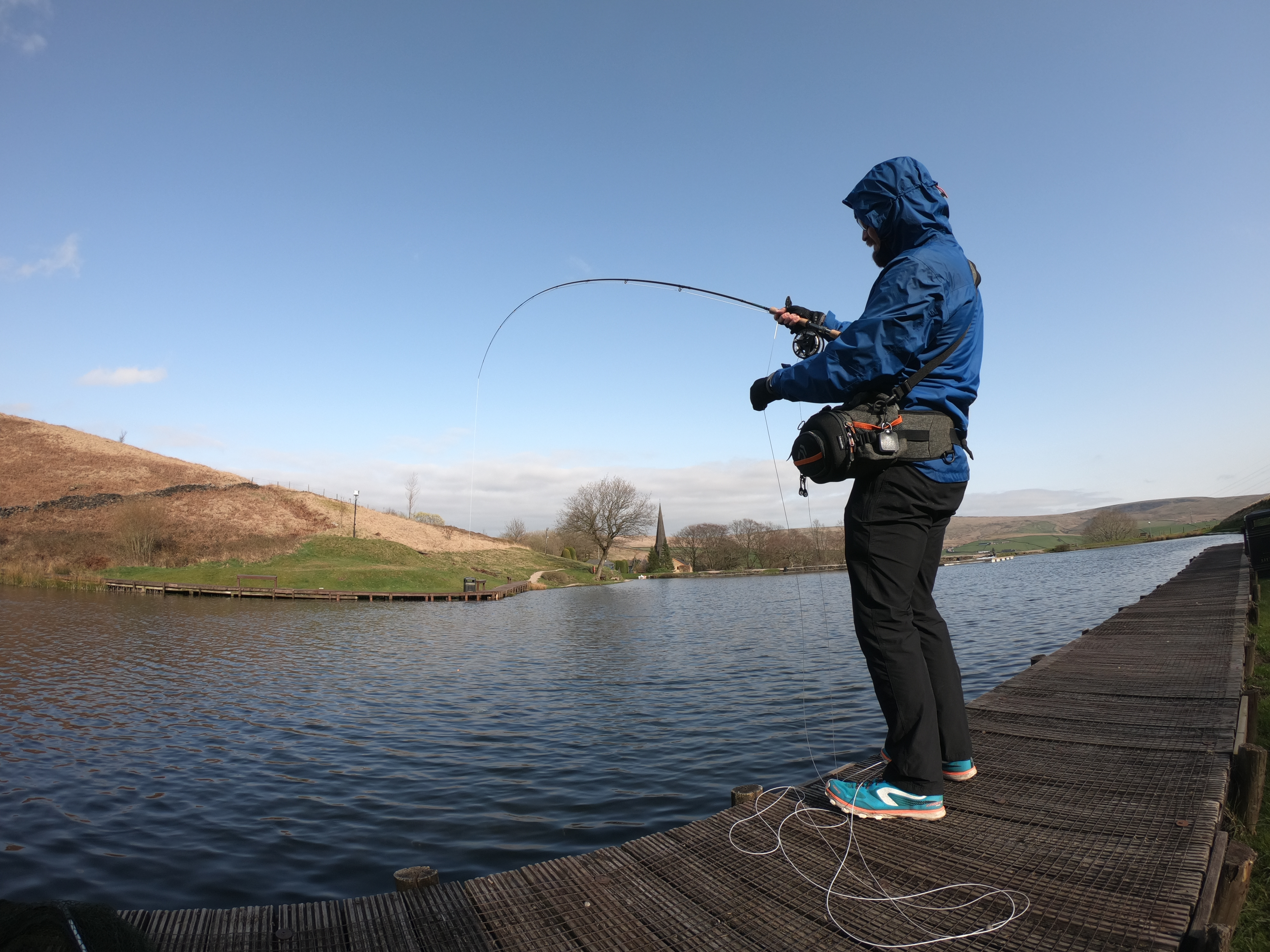 Sales and Support Team Leader, Simon Ross while out fishing at the Pennine Trout Fishery