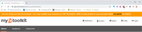 Insecure browser warning banner on myhrtoolkit