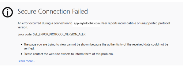 Secure connection failed message