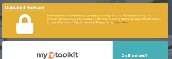 Myhrtoolkit outdated browser warning message