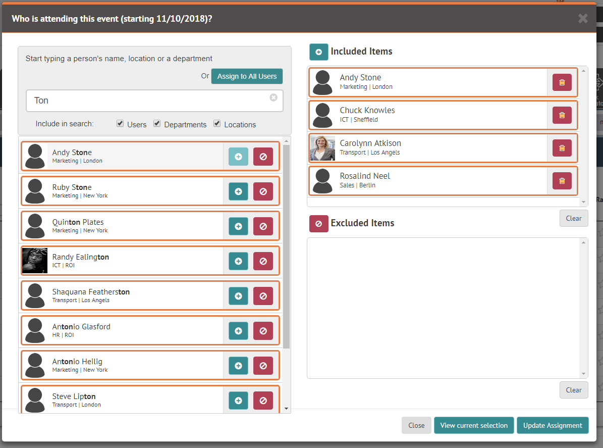 Select individual employees with the omnibox
