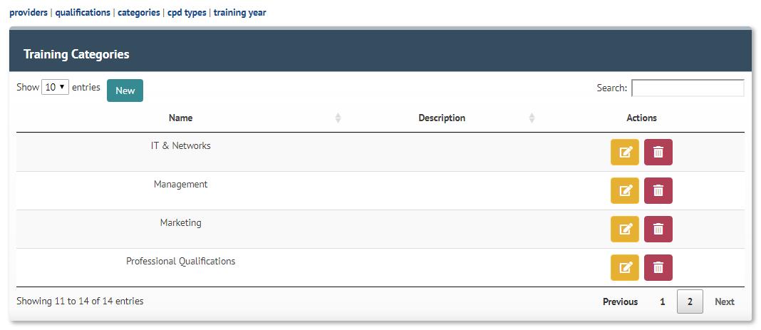Update Training Categories