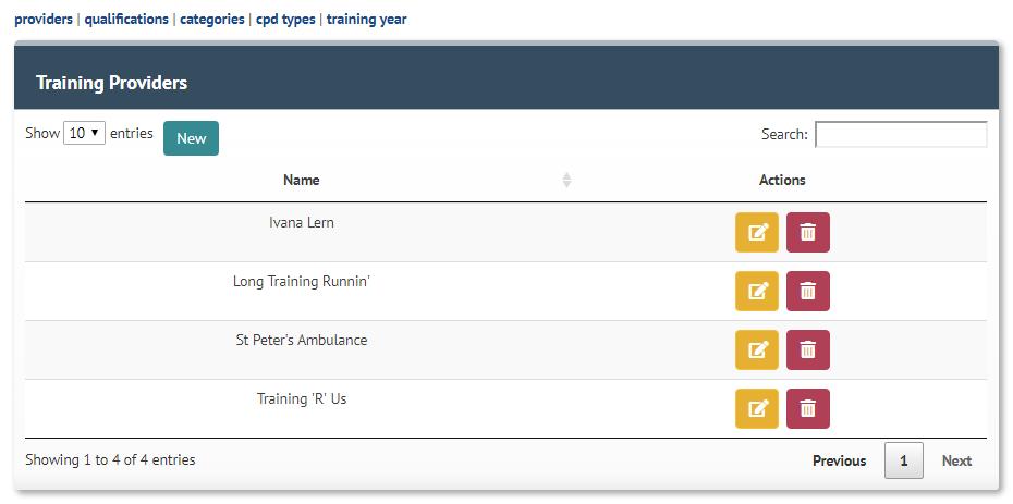 Update Training Providers